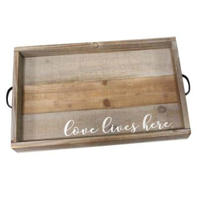 """""""Love Lives Here"""" Wood Tray"""