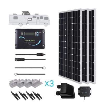 300-Watt 12-Volt Monocrystalline Solar RV Kit with 30 Amp PWM LCD Charge Controller