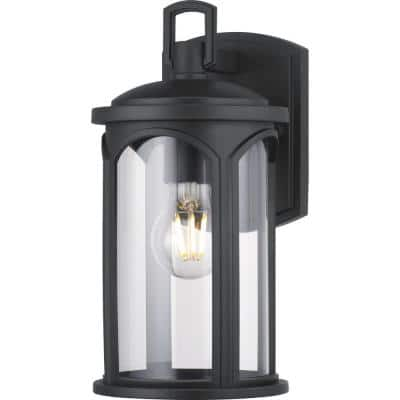 Faywood 1-Light 11 in. Matte Black Outdoor Wall Lantern with Clear Glass