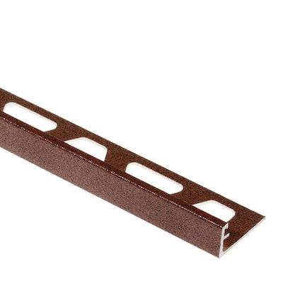 Jolly Rustic Brown Textured Color-Coated Aluminum 1/4 in. x 8 ft. 2-1/2 in. Metal Tile Edging Trim