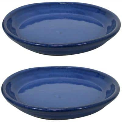 11.75 in. Imperial Blue Ceramic Planter Saucer (Set of 2)