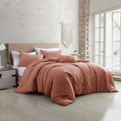 4-Piece Garment-Washed Beck Dark Rose King Microfiber ComforterSet