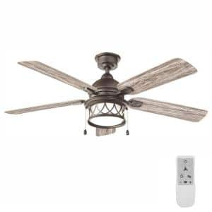 Artshire 52 in. LED Natural Iron Ceiling Fan with Light and Remote Control works with Google Assistant and Alexa