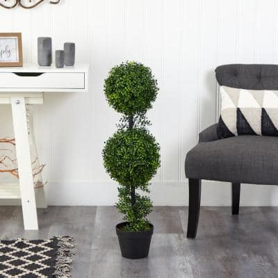34 in. Artificial Boxwood Double Ball Topiary Tree (Indoor/Outdoor)