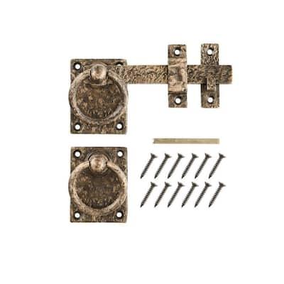 10 in. Antique Brass Cast Iron Ring Turn Drop Bar Latch