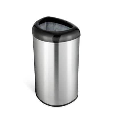 13 Gal. Black Open Top Lid Stainless Steel Trash Can
