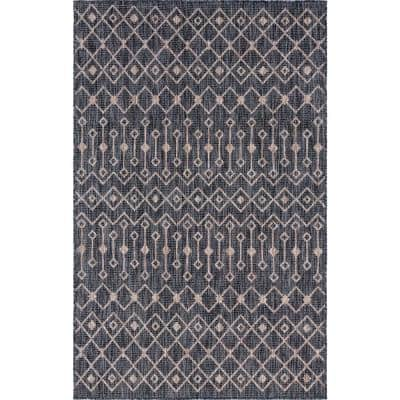 Charcoal/Gray Tribal Trellis Outdoor 9 ft. x 12 ft. Area Rug