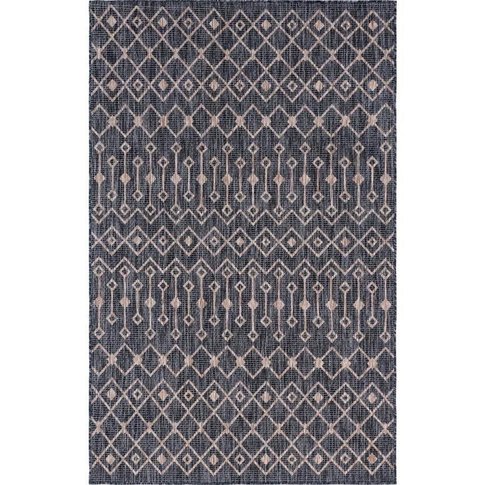 Unique Loom Charcoal Gray Tribal Trellis Outdoor 7 Ft X 10 Ft Area Rug 3145067 The Home Depot