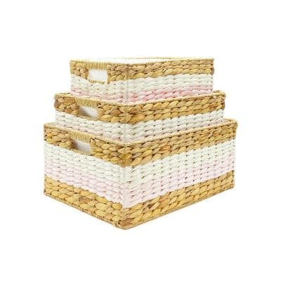18 in. D x 13.5 in. W x 8 in. H 3-Piece Nested Pink Wicker Baskets with Liners