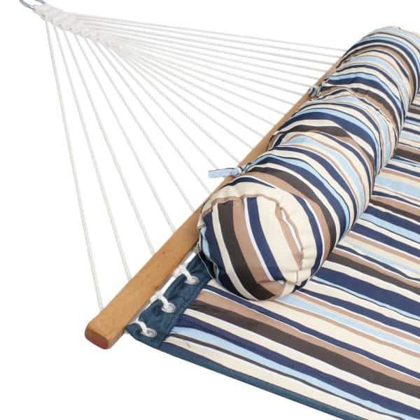 Sunnydaze Decor 11 3 4 Ft Quilted Double Fabric 2 Person Hammock In Ocean Isle Ly Qfh Oi The Home Depot