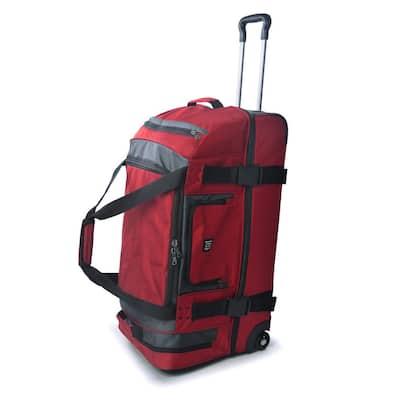 Rig 30 in. Red/Grey Rolling Duffel Bag