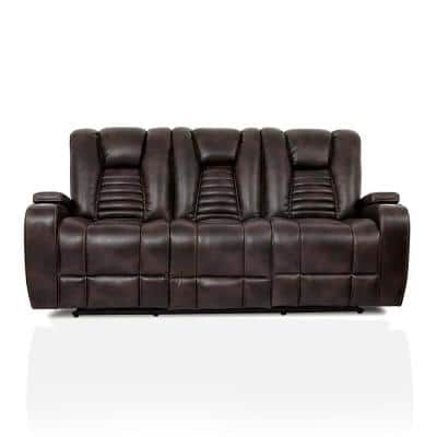 Madras 84 in. Dark Brown Faux Leather 3-Seats Sofa with Cup Holders