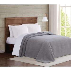 Marshmallow Sherpa Grey King Blanket