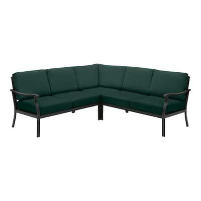 Riley 3-Piece Black Steel Outdoor Patio Sectional Sofa with CushionGuard Charleston Cushions