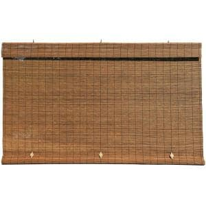 Fruitwood Cordless Light Filtering Interior/Exterior Matchstick Bamboo Blind Manual Roll-Up Shade 96 in. W x 72 in. L