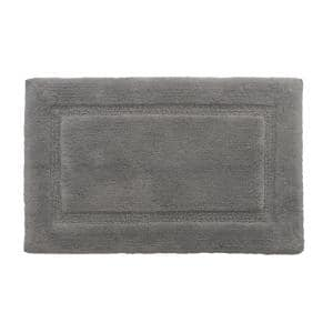 Solid Bordered Ringspun Cotton Pale Gray 17 in. x 24 in. Bath Accent Rug
