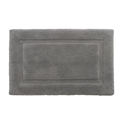 Solid Bordered Ringspun Cotton Pale Gray 20 in. x 34 in. Bath Accent Rug