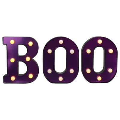 6.5 in. Lighted Black and Purple BOO Halloween Marquee Sign