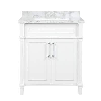 Aberdeen 30 in. x 22 in. D Bath Vanity in White with Carrara Marble Vanity Top in White with White Basin