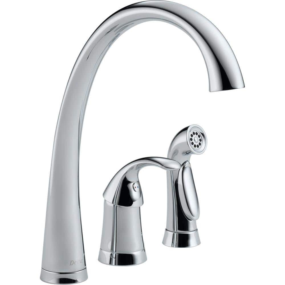 delta pilar waterfall single handle standard kitchen faucet with side sprayer in chrome 4380 dst the home depot