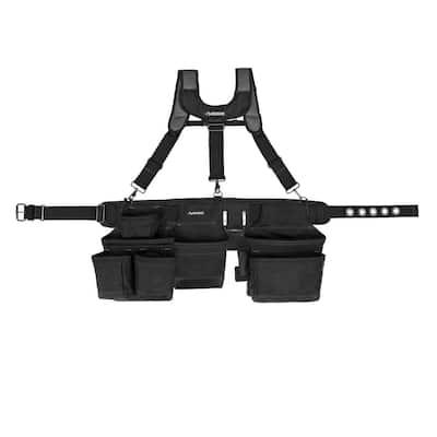 3-Bag 17 Pocket Black Framer's Suspension Rig Work Belt with Suspenders