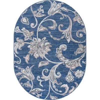 Madison Navy 5 ft. x 7 ft. Oval Area Rug