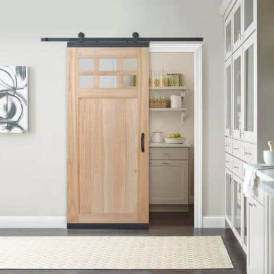 36 in. x 80 in. DesignGlide Farmhouse Unfinished Solid Wood 6-Lite Obscure Glass Sliding Barn Door & Black Hardware Kit