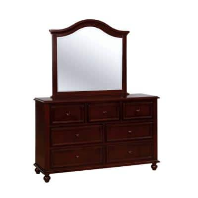 34 in. H x 53 in. W x 36 in. D Olivia Dark Walnut Dresser and Mirror Set 7-Drawers