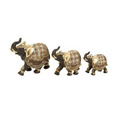 Gold Polystone Eclectic Elephant Sculpture (Set of 3)