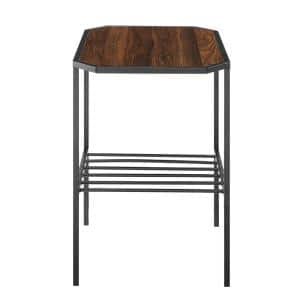 22 in. Dark Walnut Wood and Metal Chamfered Corner Side Table