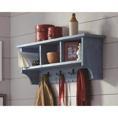 Country Cottage Blue Antique Coat Hook with Storage Cubbies