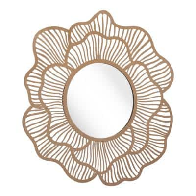 Modern  Gold Steel Accent Mirror 27.2 in. H x 28.3 in. W