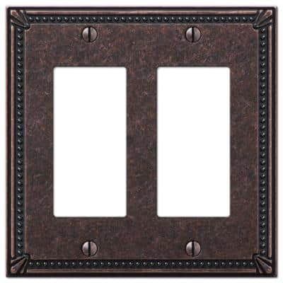Imperial Bead 2 Gang Rocker Metal Wall Plate - Tumbled Aged Bronze