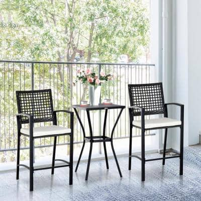 3-Piece All-Weather Steel Patio Outdoor Bar Bistro Furniture Set with White Cushions, Middle Table