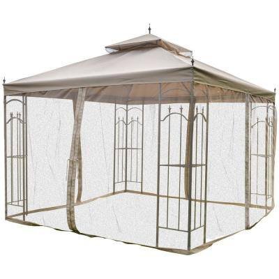 10 ft x 10 ft Brown Outdoor Patio Gazebo Canopy with Removable Mesh Curtains & Display Shelves