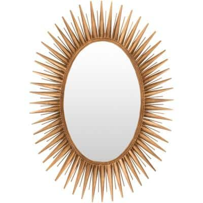 Large Rectangle Gold Art Deco Mirror (42 in. H x 30 in. W)