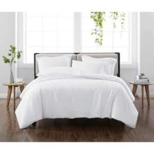 Solid White King 3-Piece Duvet Cover Set