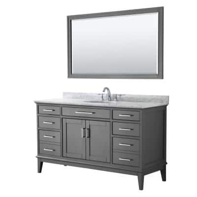 Margate 60 in. Bath Vanity in Dark Gray with Marble Vanity Top in White Carrara with White Basin and 56 in. Mirror