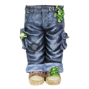 7.25 in. Dia Blue Resin Pot Hand Painted Standing Jeans with Frogs