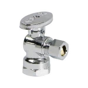 1/2 in. FIP Inlet x 3/8 in. O.D. Compression Outlet Quarter Turn Angle Stop Valve