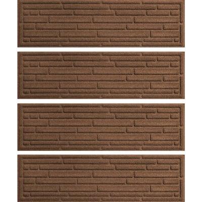 Broken Brick  8.5 in. x 30 in. Stair Treads (Set of 4) Medium Gray