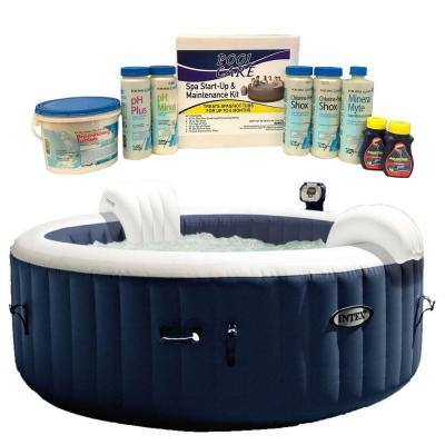 Pure Spa 6 Person Inflatable Hot Tub and Qualco Home 6 Month Chemical Kit