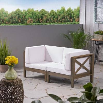 Brava Grey 2-Piece Acacia Wood Outdoor Loveseat with White Cushions
