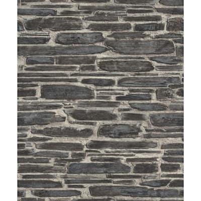 Cassandre Black Stone Black Wallpaper Sample