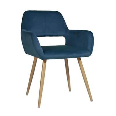 Blue Upholstered Velvet Hollow Design Armrest Side Chair