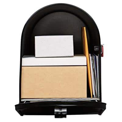 Elite Large, Steel, Post Mount Mailbox, Black