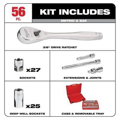 3/8 in. Drive SAE/Metric Ratchet and Socket Mechanics Tool Set (56 piece) & Screwdriver Set (6 piece)