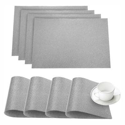 Pebble Silver Faux Leather Placemat (Set of 4)