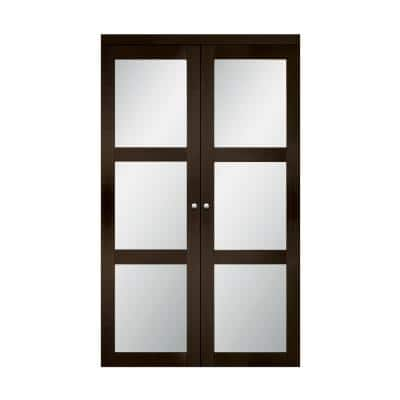 36 in. x 80.25 in. Espresso 3 Lite Tempered Frosted Glass MDF Interior French Door