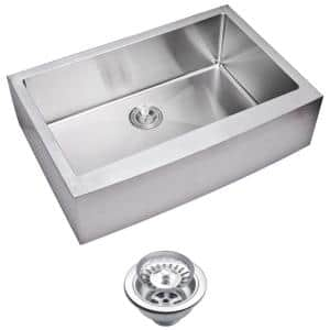 Farmhouse Apron Front Small Radius Stainless Steel 33 in. Single Bowl Kitchen Sink with Strainer in Satin